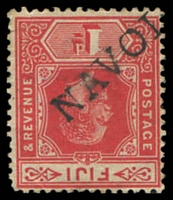 Lot 3731:Navola: straight-line 'NAVOL[A]' on 1d red KEVII. [Recorded for 4½ years only]  PO 7/11/1907; closed 21/10/1916.
