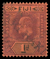 Lot 4047:Raki Raki: 'RAKI RAKI' on 1d purple & black on red KEVII.  PO c.1890.