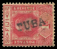 Lot 4050:Tuba: straight-line 'TUBA' on 1d red KEVII. [Rated 300]  PO 23/1/1904; closed 9/3/1918.