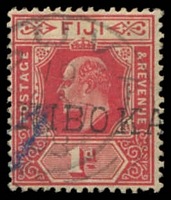 Lot 3948:Wainibokasi (1): straight-line '[WAI]NIBOKA[SI]' on 1d red KEVII. [Rated 200 by Proud]  Renamed from Lower Rewa PO c.1890; closed 31/12/1928.