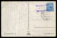 Lot 4093 [1 of 2]:1959 (APR 30) use of 10pf blue workers (rounded TLC) on PPC from Eberswalde to Dresden, stamp additionally cancelled with 'Eingegangen/4 5 59/VEB Vieh u. Schwe[?]