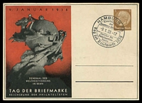 Lot 3762:1938 Stamp Day: 3pf Hindenburg cancelled with special Hamburg Stamp Day cancel, picture of UPU statue on red background.