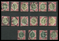 Lot 3799:1902-13 1/- KEVII group of 16 used examples, naturally most of the greens are faded.