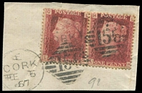 Lot 22538:156: 'E/CORK/FE6/67 - 156' Diamond Numeral duplex on 1d red Plate '98' pair [LG,LH]