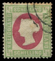 Lot 23573:1869-73 Head Embossed SG #5a ¼sch green & rose, error of colour, head Die II, Berlin reprint, some toning, minor thin.