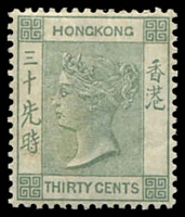 Lot 3851:1882-96 Wmk Crown/CA SG #39a 30c grey-green, Cat £90, crease.