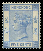 Lot 4110:1882-96 Wmk Crown/CA SG #35a 5c blue, Cat £38, mng.