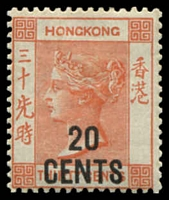 Lot 21052:1885 Surcharges SG #40 20c on 30c orange-red, Cat £180.