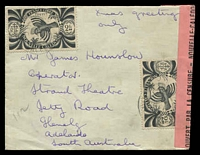 "Lot 4033:1944 (Jan 18) use of 2f black Kagu x2 on small cover to Adelaide, light violet censor '3' handstamp on face and black on red censor label at right, endorsed ""Xmas greetings/only""."