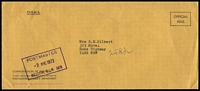 Lot 1382:Hillston: - violet boxed 'POSTMASTER/2AUG1973/HILLSTON, N.S.W. 2675' on face of stampless PMG cover.  PO 1/2/1869.