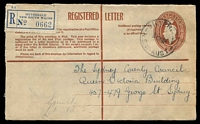 Lot 1436 [1 of 2]:Silverdale: - 'SILVERDALE/31OC50/N.S.W-AUST' on 8½d Registration Envelope with blue label.  PO 1/9/1945.