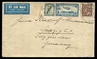 Lot 4098:1936 (May 20) use of 3d & 1/- Pictorials & 6d Airmail on air cover to Germany.