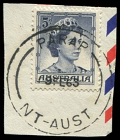 Lot 6565:Parap (3): - 'PARAP/19FE63/NT-AUST' (arcs 16,15 - 'PARAP' = 15mm long) on 5d blue. [Rated 3R - this datestamp was replaced in 1964.]  PO 2/1/1960; renamed Darwin North PO 2/9/1974.