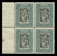 Lot 4156:1932 Pictorials SG #141 2/- Papuan Art marginal block of 4.