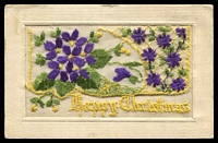 Lot 615:Military - World War I: silk embroided 'XI/Happy Christmas'' PPC. Typically produced for allied soldiers. Unused.