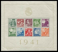 Lot 4538:1941 National Costumes SG #941a Miniature sheet, Cat £250, few creases in margins clear of stamps.