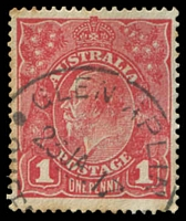 Lot 1909:Glen Aplin: - 'GLEN APLIN/23JA17/QUEE[NSLAND]' (ERD) on 1½d red KGV. [Rated 3R]  RO 9/4/1888; PO 2/11/1914.
