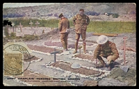 Lot 4556:1913-22 Admirals Single Plate Perf 14 SG #198 1½d bistre-brown with joined ½ cancelled with at Bulaweyo on coloured Daily Mail Battle Pictures of 'ARMY CHAPLAIN TENDING BRITISH GRAVES' to France.