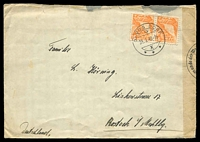Lot 28738 [1 of 2]:1940 use of 15c orange Landscape pair from Davos Dorf to Rostock, Germany, German censor at left, opened a little roughly at top.