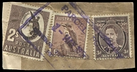 Lot 2279:Hobart: - violet boxed 'PARCEL POST/1MAY1950/GENERAL PO[ST OFFICE]/HO[BART]' on 3d brown, 6d Kookaburra & 2/- Crocodile.  Renamed from Hobart Town PO 1/1/1881.