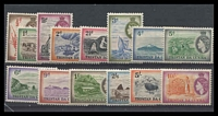 Lot 29042:1954 QEII Pictorials SG #14-27 set, top two values **. (14)