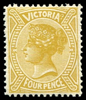 Lot 11648:1901 Re-Issue of No Postage Designs Perf 12x12½ SG #379 4d bistre-yellow, Cat £25.