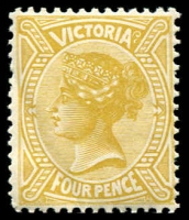 Lot 11647:1901 Re-Issue of No Postage Designs Perf 12x12½ SG #379 4d bistre-yellow, Cat £25, crease.