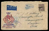 Lot 1036:Barney Marshall Patriotic Cover for RAN used on ship, airmail to Qld, couple of faults, rare.