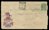 Lot 843:Barney Marshall Patriotic Cover for Army 1944 local use Brisbane, couple of faults, rare.