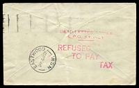 Lot 5094 [1 of 2]:1937 use of stampless cover with Sydney 1 'POSTED IN/PILLAR BOX' machine cancel to Eastwood, magenta 'REFUSED/TO PAY/TAX' (A1) backstamp applied at DLO.