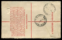 Lot 1122 [2 of 2]:1946 use of QE 1d pair on 5½d Registration Envelope, cancelled with 'SOUTH GUNDAGAI/21DE46/N.S.W' (B1), blue provisional registration label. [7½d = 3d reg + 4½d 1-2ozs]
