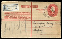 Lot 5164 [1 of 2]:1957 use of 1/7d Registration Envelope cancelled with 'G.P.O. SYDNEY/R.S./P28OC57/C/N.S.W-AUST' & matching 'C' label .