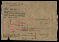 Lot 3534:Returned Letter: black on manilla from Dead Letter Office, Sydney, 1951 use with magenta registration handstamp, front only. Rare.