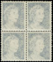 Lot 587:1966-73 5c Blue QEII BW #444c good Offset block of 4, Cat $300 for very strong offset.