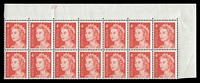 Lot 586:1966-73 QEII Definitives BW #440zk 4c red helecon paper, corner block of 14 showing upper plate number '27', Cat $30 (for block of 20 with perf pips).