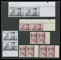 Lot 3216:1966-74 $1 Flinders BW #463d,e,ea,f,fa [1] Diagonal scratches over USTR in corner pair; [2] pair with Left frame missing for 4-5mm at base & top left corner broken and Left frame missing for 3mm at top; [3] pair with Retouched top left corner, with thin left frame at base and Retouch type I; [4] white paper pair with Retouched top left corner, with thin left frame at base and Retouch type I, smudges in TLC of both stamps, Cat $340.