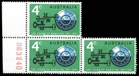 Lot 3400:1967 Banking BW #474d 4c block of 3, top left unit showing White spot between RS of YEARS [RP 8/1], right unit also with prominent uncatalogued White line over '4c' [RP 9/2]