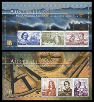 Lot 3320:1999 Australia 99 BW #2179b-80b hand perforated minisheet set, Cat $50.