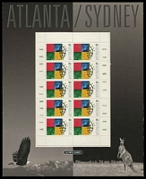 Lot 2800:Atlanta - Sydney 2000 BW #1985w 45c x10 sheetlet PO Pack, Cat $10.
