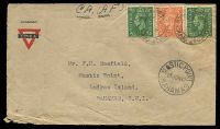 Lot 18526:1942 British 'FIELD POST OFFICE/*/MY7/42/320' (Borden, Hants) on GB ½d x2 & 2d on Canadian YMCA cover, 'MASTIC POINT/13JUN42/BAHAMAS' (A1) arrival on face.