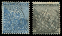 Lot 3603:1871-76 Seated Hope Wmk Crown/CC SG #28 ½d grey-black, Cat £11, plus fine 4d dull blue.