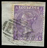 Lot 3695:1858-78 GB Used in Alexandria SG #Z24 6d violet plate 8, cancelled with 'B01', Cat £38, on piece.