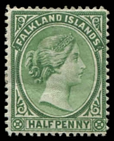 Lot 3436:1891-1902 QV SG #16 ½d green, Cat £16.