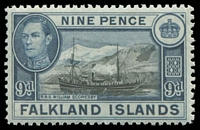 Lot 3437:1938-50 KGVI Pictorials SG #157 9d Ship, Cat £25.