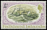 Lot 3419:1970 S.S. Great Britain SG #259w 4d Wmk crown to right of CA, Cat £18.
