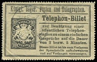 Lot 3589:Telephone Ticket: c.1904 10pf black stamp for 5 minute phone call, small tear. Unusual.