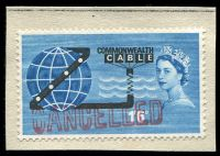 Lot 3673:1963 1/6d Cable SG #645 with 'CANCELLED' handstamp on small part Philatelic Bulletin No. 3, (GB Spec #W40s).