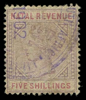 Lot 25114:1885 Wmk Crown/CA: 5/- lilac & red, crease