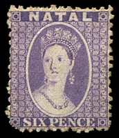 Lot 4137:1863-65 Chalons P12½ SG #24a 6d violet Wmk reversed, Cat £70, rounded BLC.