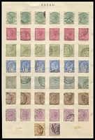 Lot 4410:1882-91 Wmk Crown/CA SG #97-103,107,113 ½d x6, 1d x6, 2d x6, 2½d x6, 3d grey x6, 4d x6, 6d x7, Cat £74. (44)